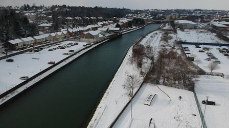 Ipswich snow from above
