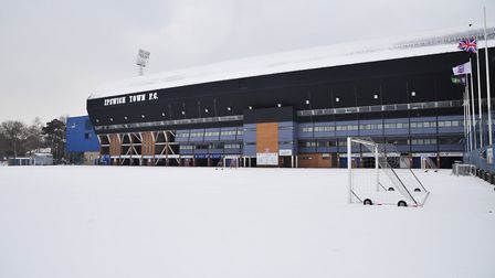 Portman Road in the snow before the big thaw. Picture: SARAH LUCY BROWN