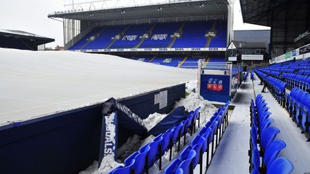 Portman Road in the snow. Picture: SARAH LUCY BROWN