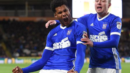 Jordan Spence (left) celebrates his late equaliser at Hull with Freddie Sears. Photo: Pagepix