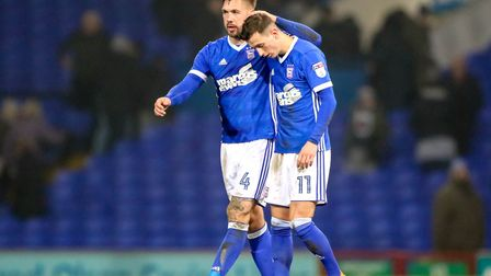 Luke Chambers with Bersant Celina after the recent 1-0 home defeat to Cardiff. Photo: Steve Waller