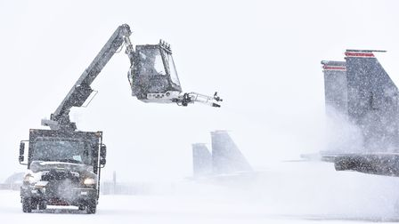 RAF Lakenheath in the snow. Picture: MSGT ERIC BURKS