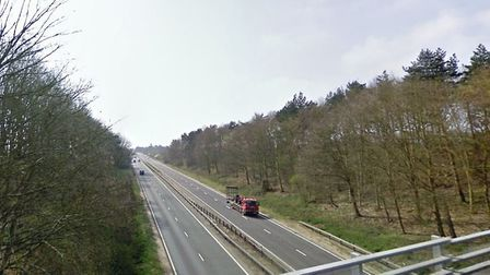 James GGolding was caught doing speeds of up to 130mph on the A12 at Dedham. Picture: GOOGLE MAPS