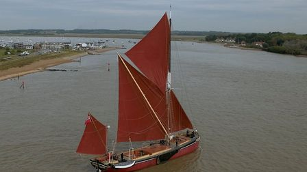 A Thames barge entering the River Deben at Bawdsey-Felixstowe Ferry in Life on the Deben. Photo: Tim