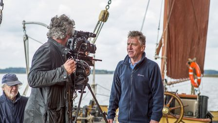 Tim Curtis filming John McCarthy delivering a piece to camera in Life on the Deben. Photo: Jemma Wat