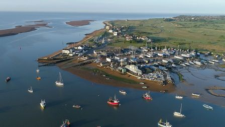 Felixstowe Ferry seen from the air in Life on the Deben. Photo: Tim Curtis