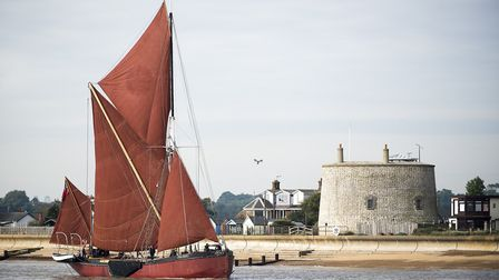 A Thames barge entering the River Deben at Felixstowe Ferry in Life on the Deben. Photo: Jemma Watts