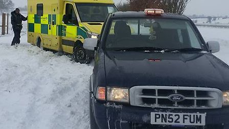 James Bell, from Eye, helped to tow an ambulance caught in the snow. Picture: JAMES BELL