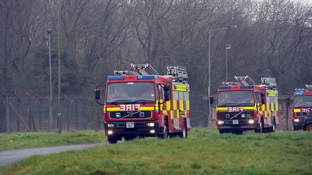 Crews were called to a fire in a barn in Mutford. Picture: PHIL MORELY