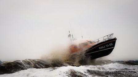 The rough weather boat handling skills of the Lowestoft RNLI Lifeboat, Patsy Knight, was put to the
