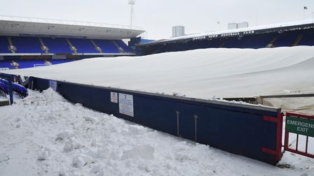 Inside Portman Road in the snow on Friday. Picture: SARAH LUCY BROWN