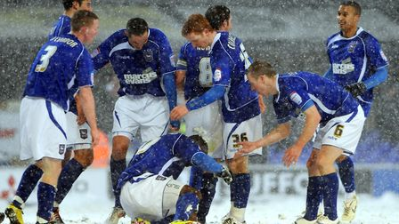Fun in the snow at Portman Road in 2010 when Town beat Leicester in a game that went the full distan