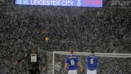 Action from a snowy Portman Road in 2010 in a game that started in the dry, but ended up snow-covere