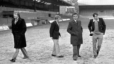 It doesn't look hopeful, does it? Norwich manager John Bond strides purposefully off the pitch at Po
