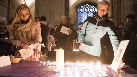 A vigil for the peace of Sophie Smith who went missing on Boxing Day was held at Norwich Cathedral.