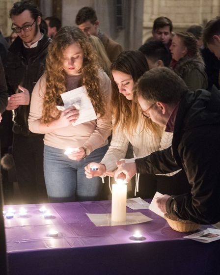 The vigil at Norwich Cathedral for missing Sophie Smith. Picture: NICK BUTCHER