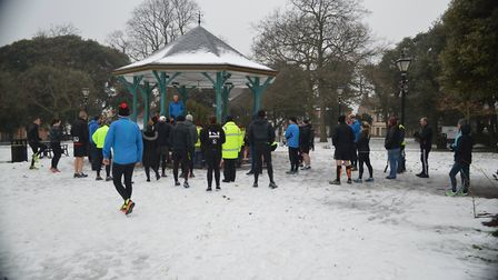 Runners congregate at the bandstand in Dovercourt Cliff Park.before Saturday's Harwich parkrun,