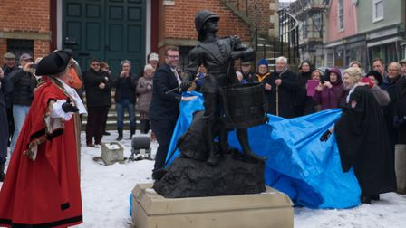 A ceremony to celebrate the return of the Drummer Boy statue on Market Hill in Woodbridge. Picture: