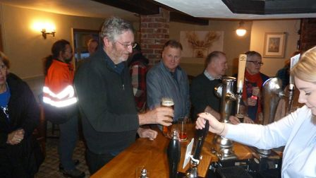The reopening attracted a number of punters to the Cross Keys pub on Saturday night. Picture: ELAINE