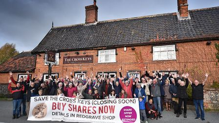 The Cross Keys pub in Redgrave, which was saved by the community following a fundraising campaign, h