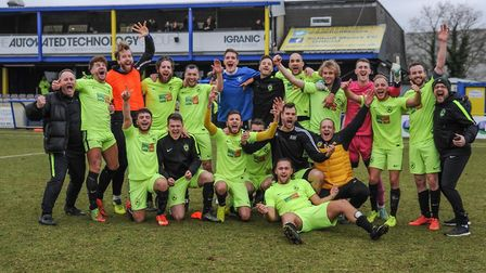 Gym United celebrate reaching the FA Sunday Cup final with a win over Mayfair FC. Picture: FA SUNDAY