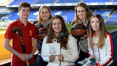 Some of the latest aspiring athletes from Suffolk to be recognised by SportsAid Suffolk. Left to rig