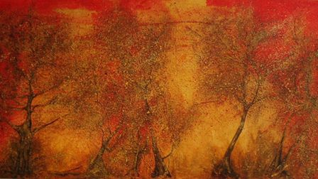 A painting on textured canvas by Sue Eaton, who is participating in the Suffolk Open Studios scheme