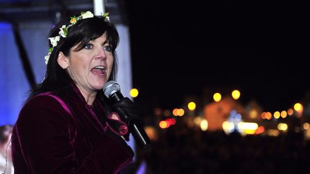 Emma Freud, picured here switching on Aldeburgh's Christmas lights, has given her backing for Suffol