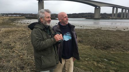 BTO representatives Mick Wright, left, and Rod Bleach, who are co-ordinating the grey heron and litt