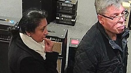 Police want to speak to this pair after a theft from Peach Guitars in Colchester. Picture: PROVIDED