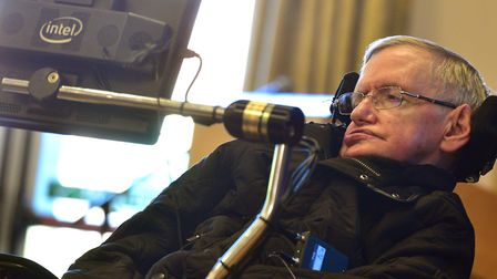Professor Stephen Hawking visiting Kesgrave Community Centre in 2016. Picture: SARAH LUCY BROWN