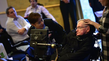 Professor Stephen Hawking visited the Kesgrave Community Centre to visit the Headway conference. Pic