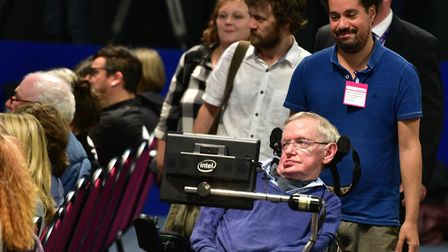 Professor Stephen Hawking giving a speech at the Headway Suffolk Conference at BT Adastral Park. Pic