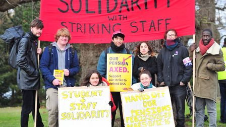 Lecturers and other campus staff on strike at the University of Essex as part of a national dispute