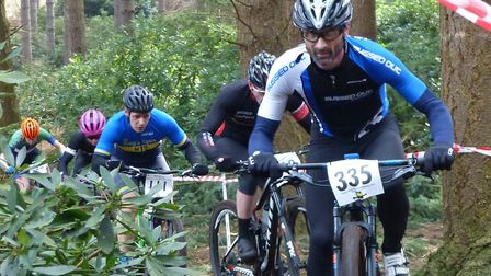 Stowmarket veteran Andy Sampson leads a string at the Revel Outdoors MTB Races. Picture: FERGUS MUIR