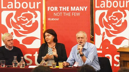 Jeremy Corbyn, Leader of the Labour party, speaking at a members event held in Great Yarmouth with S