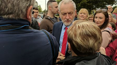 Jeremy Corbyn speaks to supporters on a visit to the region. Photo: George Ryan