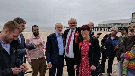 Jeremy Corbyn meets with Labour supporters on the beach in Lowestoft. Picture: GEORGE RYAN