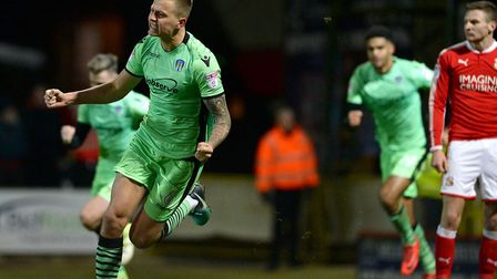 Frankie Kent celebrates scoring for the U's in a 3-2 win at Swindon, from last December. Picture: PA
