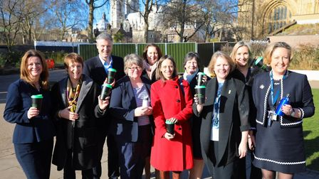 Suffolk Coastal MP Therese Coffey with MPs giving up plastic bottles for Lent. Picture: SUPPLIED BY