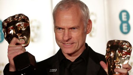 Martin McDonagh with two of his awards for Three Billboards Outside Ebbing, Missouri at the BAFTA Fi