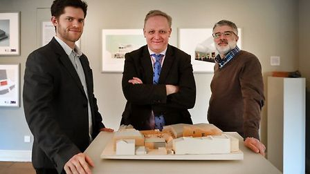 Left to right: Angus Goodwin ZMMA, Mark Bills MD of Gainsborough's House and Adam Zombory Moldovan o