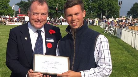 Suffolk Agricultural Apprentice of the Year competition: Lord Iveagh with William Appleby, 2017 runn