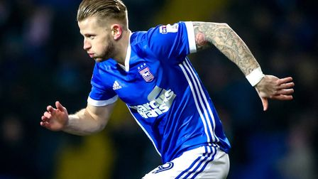 Luke Hyam made his first league start for Ipswich Town in almost 20 months on Wednesday night. Photo
