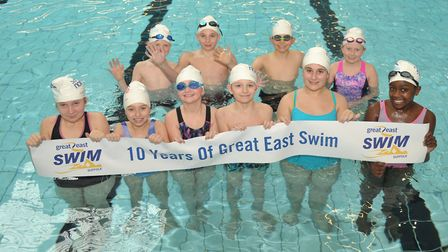 Children from Springfield Primary School in Ipswich celebrate 10 years of the Great East Swim. Pictu