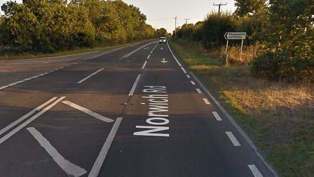 A broken down lorry is causing delays on the A140 at Mendlesham. Picture: GOOGLE MAPS
