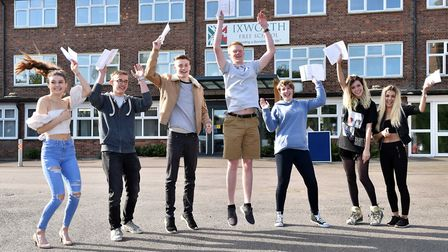 Students at Ixworth Free School celebrate their GCSE results. Picture: JAMES FLETCHER, SECKFORD FOUN