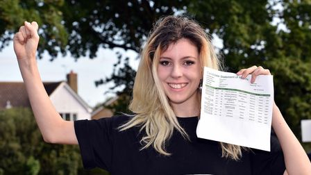 Blythe Brunt at Ixworth Free School leap for joy with their GCSE results. Picture: JAMES FLETCHER, S