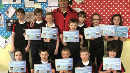 Nino awarding certificates to the Sports Leaders in Yorkshire.