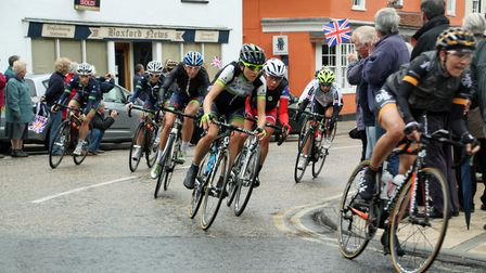 The Peleton passing through Boxford during Stage 5 of the Women's Tour of Britain 2014. Details of t